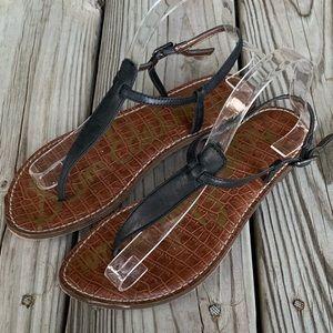 Sam Edelman Gigi Black Leather Strap Sandals. 8